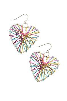 HOT TOPIC: Multicolor Wire Heart Earrings $6.00