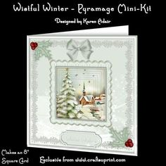 """This two sheet kit will make a pretty 8"""" square Christmas card, with 6 pyramage. Six sentiment tags included, one left blank for you to personalise if you wish."""