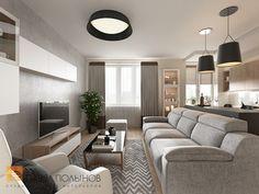 Фото: Дизайн кухни-гостиной - Интерьер квартиры в современном стиле, ЖК «Солнечный»