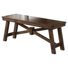 Perfect as an extra seat in your eat-in kitchen or dining room, this classic wood bench showcases a trestle base and tobacco finish.