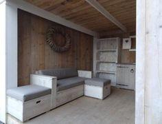 steigerhouten lounge bank white-wash voorzien van sunbrella kussenset