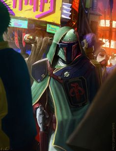 The Bounty Hunter by Dan Luvisi - Bobba Fett Mandalorian Cosplay, Star Wars Concept Art, Star Wars Boba Fett, Jango Fett, Star Wars Rpg, Star Wars Characters, Cultura Pop, Clone Wars, Les Oeuvres