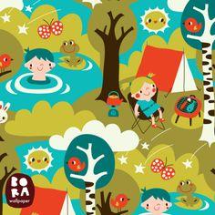 Behang Camping - Bora Wallpaper -De Oude Speelkamer