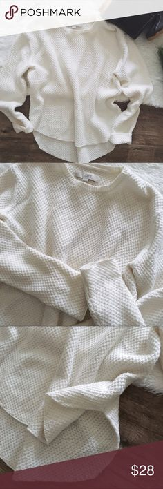 "loft • cream textured soft sweater •loft •cream colored sweater •textured •slightly longer in back  •size: x-small  •condition: no flaws noted; worn once; it shrank a little when I dried it.  •measurements: armpit-armpit: 17.5""; front length: 20""; back length: 24""; sleeve length: 22"" •materials: 55% cotton, 20% nylon, 5% camel  •please see all pics, read description, and ask questions before purchasing   •no trades• LOFT Sweaters Crew & Scoop Necks"