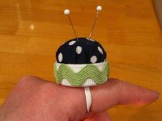 Pincushion ring from bottlecap and scrap fabric!