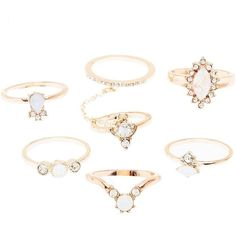 Charlotte Russe Facted Stone Stackable Rings - 6 Pack (175 UYU) ❤ liked on Polyvore featuring jewelry, rings, gold, double finger ring, two-finger ring, stone jewellery, charlotte russe and charlotte russe jewelry