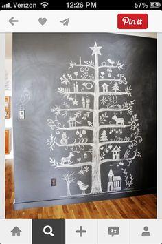 Chalk wall christmas tree!
