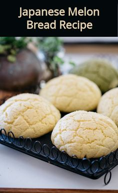 Melon pan is the Japanese classic sweet bread shaped to look like a melon or cantaloupe. It has a crunchy and sweet outer crust with a super soft and fluffy inside. I will show you how to make this amazing Japanese bread at home! Sushi Recipes, Bread Recipes, Cookie Recipes, Dessert Recipes, Japanese Pastries, Japanese Bread, French Pastries, Japanese Food, Asian Desserts