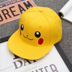 544a7c66a5356 Pokemon Pikachu Cute Anime Yellow Hip Hop Hat Cap Snapback  anime  hats   snapback