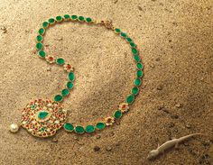 The Heritage Line, Ganjam necklace. Rubies, emeralds, pearl and diamonds set in 22k yellow gold
