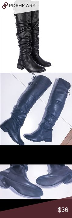 Knee boots Black Knee Boots, worn twice. Clearing out my closet. No scuffs, no rips. All reasonable offers accepted nature breeze Shoes Over the Knee Boots