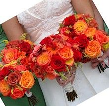 Bride and Bridesmaid bouquets in red and orange