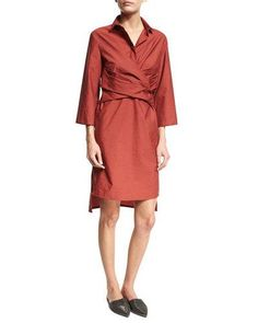 TQSV2 Brunello Cucinelli Crinkled Wrap-Front Shirtdress, Red
