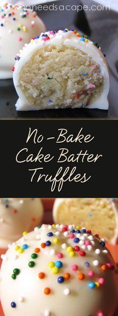 No-Bake Cake Batter Truffles - Who Needs A Cape? - - No-Bake Cake Batter Truffles – Who Needs A Cape? Things I want to cook No-Bake Cake Batter Truffles a decadent dessert treat that won't heat up your kitchen. Cake Batter Truffles, Cupcakes, Cake Batter Fudge, No Bake Truffles, Cookie Dough Truffles, Pumpkin Truffles, Cake Balls Recipe Funfetti, Easy Cake Batter Recipe, Diy Truffles