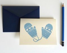 love the sweet mittens holiday postcard