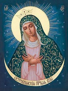 An icon of the Mother of God of The Gate of Dawn. Religious Images, Religious Icons, Religious Art, Catholic Religion, Catholic Art, Pictures Of Jesus Christ, Images Of Mary, Mama Mary, Madonna And Child