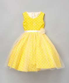 Look at this Kid Fashion Yellow Polka Dot A-Line Dress - Infant, Toddler & Girls on #zulily today!