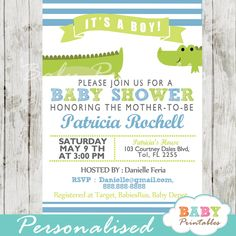 Printable Lime Green & Blue Alligator Boy Baby Shower Invitation. This personalized gator baby shower invitation features the sweetest crocodile in a white, lime green and sky blue color scheme. #babyprintables