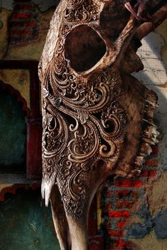MAKE WITH GREAT OLD RAISED LACE PATTER TEA STAINS ON OLD CREAM DISTRESS WITH BROWN GLAZE COOL Beautiful carved skull