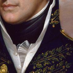 Particolari di opere, seconda parte. Rembrandt Peale: William Henry Harrison. Olio su tela del 1813. Cm 72,4 x 60,3. Una bella bocca: ma è anche molto bella la divisa della marina che incornicia la camicia, con i piccoli plissé laterali, e la cravatta blu intorno al collo. A 18 anni era già guardiamarina nelle guerre contro gli indiani, per il controllo dei territori del Nord-Ovest: farà una carriera considerevole, diventando governatore, senatore, ambasciatore.