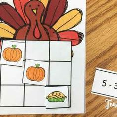 Thanksgiving math centers- tic tac turkey fact practice