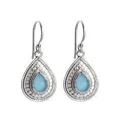 Anna Beck Gili Small Turquoise Silver Teardrop Earrings - Small Sterling Silver Turquoise Teardrop Earrings. Shop online at www.earthworkslosaltos.com. #TurquoiseJewelry #Turquoise