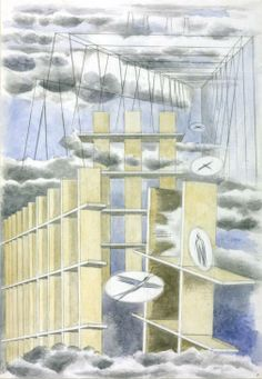 Paul Nash Mansions of the Dead 1932 Pencil and watercolour on paper support: 578 x 394 mm frame: 820 x 611 x 22 mm