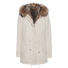 IQ BERLIN Lined Fur Off-White // Cotton parka with fur lining ($960) ❤ liked on Polyvore featuring outerwear, coats, off white coat, fur lined hood coat, fur hood parka, fur-lined coats and cotton parka