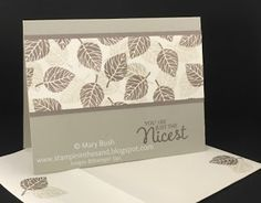 handmade thank you card from Stampin' in the Sand: Card: Thoughtful Branches Neutral Leaves  monochromatic shades of taupe ... matching envelope and inside stamping ...