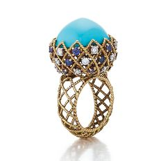 SOLD - A Fine French Turquoise, Diamond & Sapphire Ring by Cartier