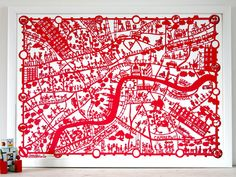 This red map of London is beautiful.  #map #london #redart