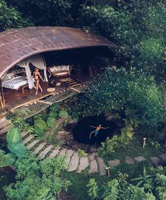 Floating and flying above Moon House nestled in the jungle at Bambu Indah. Vacation Trips, Dream Vacations, Jungle House, Bamboo Architecture, Cool Tree Houses, Tree House Designs, Bamboo House, Ubud, Places To Travel