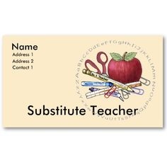 Substitute teacher business cards PRINTABLE SubbingPTA