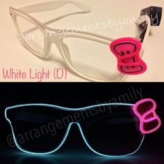 f8066d0d1dbdd Items similar to White Bow El Wire Glasses - Light up Festival Glasses on  Etsy