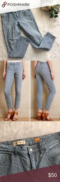 NWOT Pilcro Stet Railroad Striped Jean This pant is in perfect condition!  Size 28  Waist is approx 15 inches  Inseam is approx 28 inches  Smoke and pet free home! No flaws like stains or holes! No modeling No trades! Anthropologie Jeans Ankle & Cropped