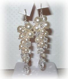 Long Pearl Earrings in Ivory Beautiful Bridal by livelovebead, $37.00