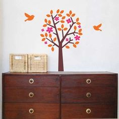 """The Lovely Tree Wall Decal Is The Ideal Wall Decor Idea For A Nature Theme Decoration In Kids_""""? Rooms Or Play Areas. This Vinyl Wall Decal Features A Vibrant Orange And Pink Tree Along With A Couple Of Flying Birds, For Interior Design Of Kids Rooms.$59.99"""