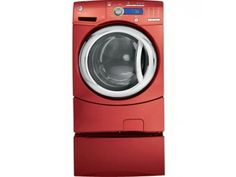 GE GFWH2405LMV Red Front Load Washer, 27in, 4.9 cu.ft, with 1200 RPM Spin Speed, Speed Wash Cycle, HydroHeater, Adaptive Vibration Control and Stain Wash Cycle Red