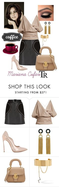 """""""Coffe Time"""" by mariana-cufari ❤ liked on Polyvore featuring Maje, Jacquemus, Casadei, Rachel Zoe, Burberry and Elizabeth and James"""