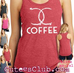 Chanel Coffee Spot. Womens racerback tank top DM138L by CuteesClub on Etsy https://www.etsy.com/listing/276409670/chanel-coffee-spot-womens-racerback-tank