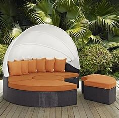 Check this Husen Outdoor Canopy Daybed Sectional Set Orange patio furniture 【Product x x inches; For maximum comfort, this furniture set comes complete with 1 x bed - 2 x big ottoman - 2 x small ottoman - outdoor garden Daybed Sets, Daybed Canopy, Patio Daybed, Ikea Canopy, Outdoor Daybed, Canopy Bedroom, Diy Canopy, Fabric Canopy, Outdoor Sectional