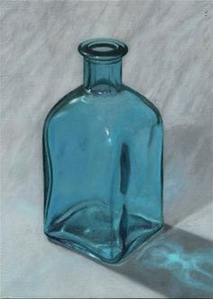 """Study of a Blue Bottle"" - Oil on gessoed hardboard - Original Fine Art for Sale - © Ruben Rivera"