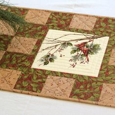 Cardinal Table Runner, Quilted Christmas Table Runner, Holly and Pines, Table Quilt, Winter Table Runner, Handmade