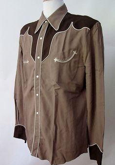 1940's two tone gabardine western shirt