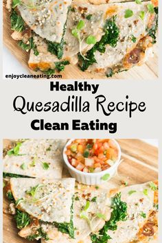 Healthy Quesadilla Recipe clean eating. This kale and white bean quesadilla recipe well packed with fiber and protein; it's a healthy meal you can enjoy any day of the week. as a quick lunch dinner or even as a healthy snack. healthy quesadilla clean eating dinners Indian Food Recipes, Diet Recipes, Vegetarian Recipes, Healthy Recipes, Ethnic Recipes, Bariatric Recipes, Healthy Habits, Chicken Recipes, Healthy Quesadilla