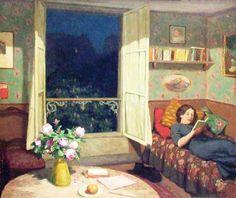 Vilma lendo um livro, c. 1912 Tavik Frantisek Simon ( República Checa,1877-1942) óleo sobre tela www.tfsimon.com  -