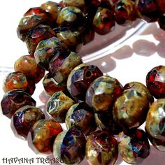 RICH AMBER - Faceted Rondelle Czech Glass Beads - 10 Beads - No. HB044
