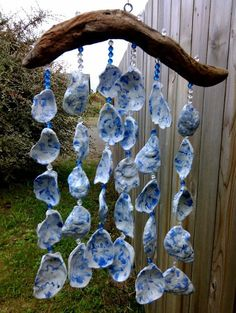 Blue Windchime Sea Shell Driftwood Mobile by BurlgirlCreations