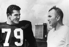 """Louis Andrew """"Lou"""" Michaels (left with with Coach Blanton Collier at the University of Kentucky.) (September 28, 1935 – January 19, 2016) was an American football player who was a standout defensive lineman for the University of Kentucky Wildcats from 1955 to 1957. He played professionally for 14 years, 1958–71, with the Los Angeles Rams, Pittsburgh Steelers, Baltimore Colts and Green Bay Packers of the National Football League (NFL)."""