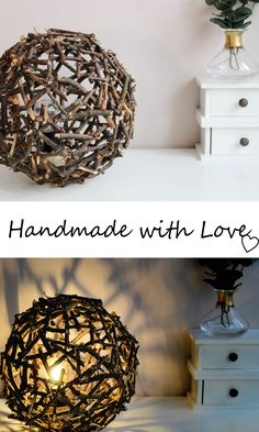 Handmade Wooden Lamp from small branches - perfect to rustic rooms! #wood #woodworking #lamp #lampwork #woodlamp #rustic #rusticdecor #design #diy #project #ball #decor #ideas